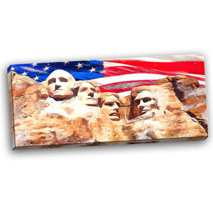 American Flag and Mount Rushmore Canvas Wall Art Print