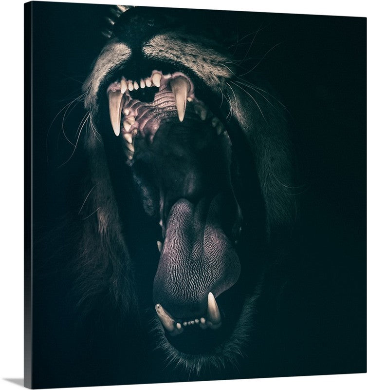Angry Lion Roar Animal Canvas Wall Art Print