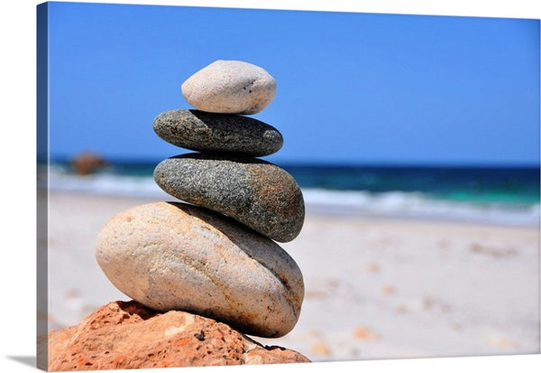 Balanced Sea Stones Canvas Wall Art Print
