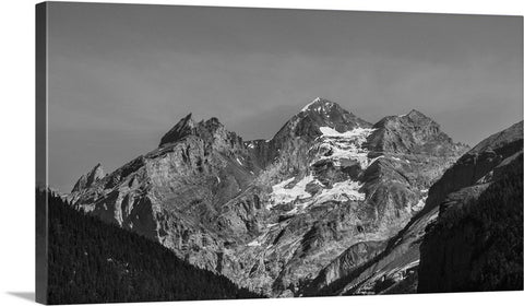 Black and White Mountain Peaks Canvas Wall Art Print