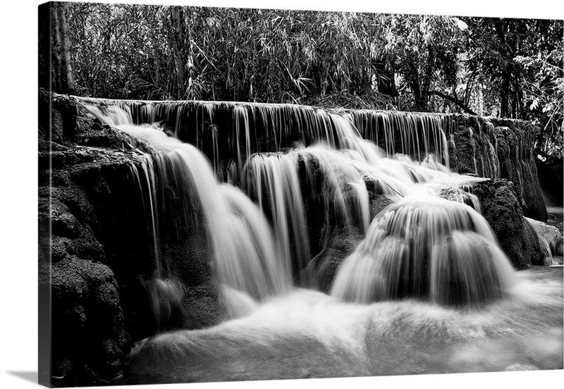 Black and White Waterfall Bliss Canvas Wall Art Print