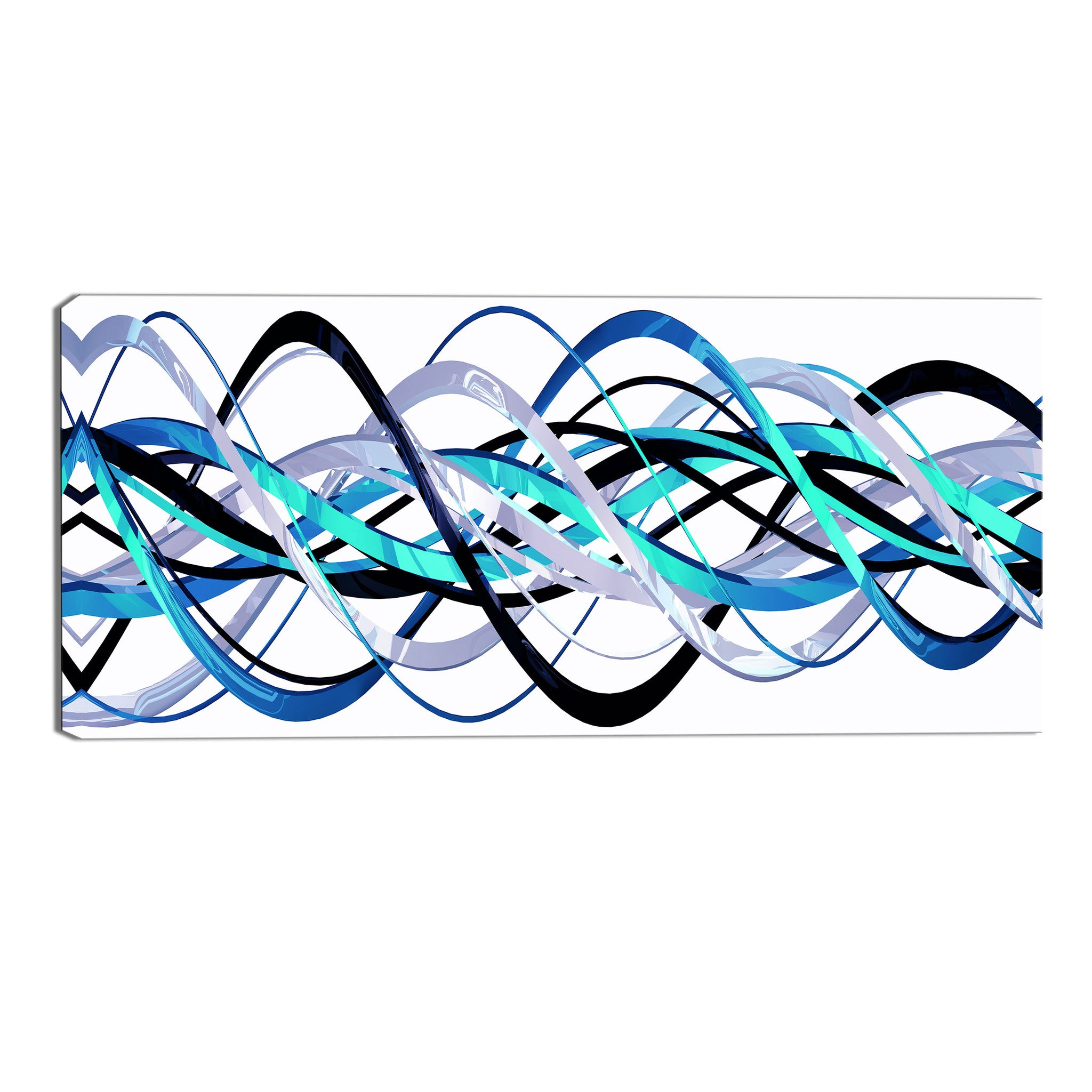 Blue and Silver Abstract Loops Canvas Wall Art Print