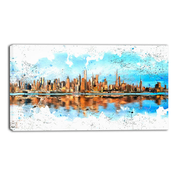 Blue Sky Cityscape Canvas Wall Art Print