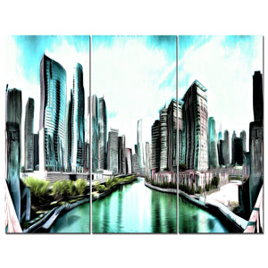 Breezy Cityscape Canvas Wall Art Print