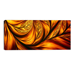 Bronze Abstract Leaves Canvas Wall Art Print