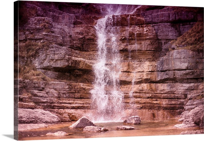 Cascade Scenery Waterfall Rocks Canvas Wall Art Print