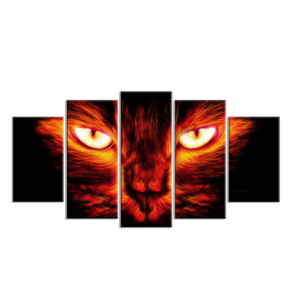 Fiery Cat Eyes Canvas Wall Art Print