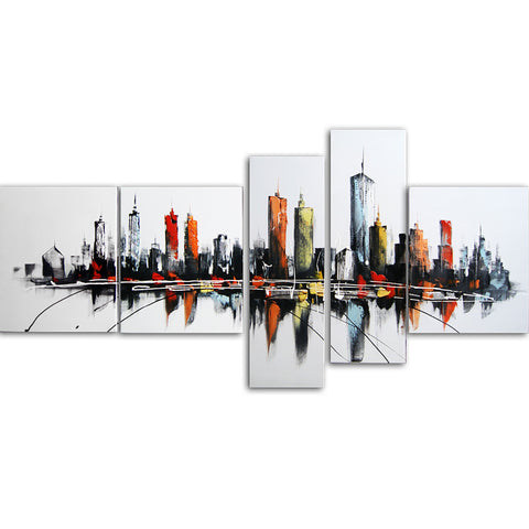 Flashy Color Cityscape Canvas Wall Art Print