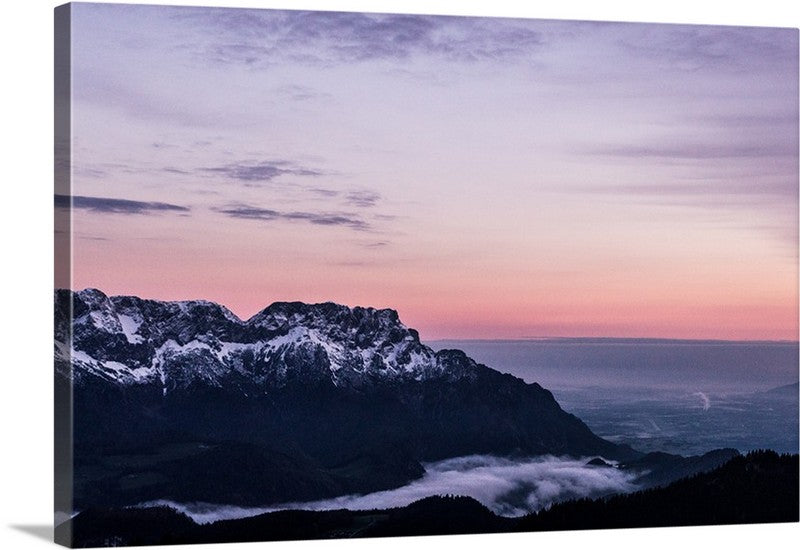 Fog Bank Mountain Canvas Wall Art Print