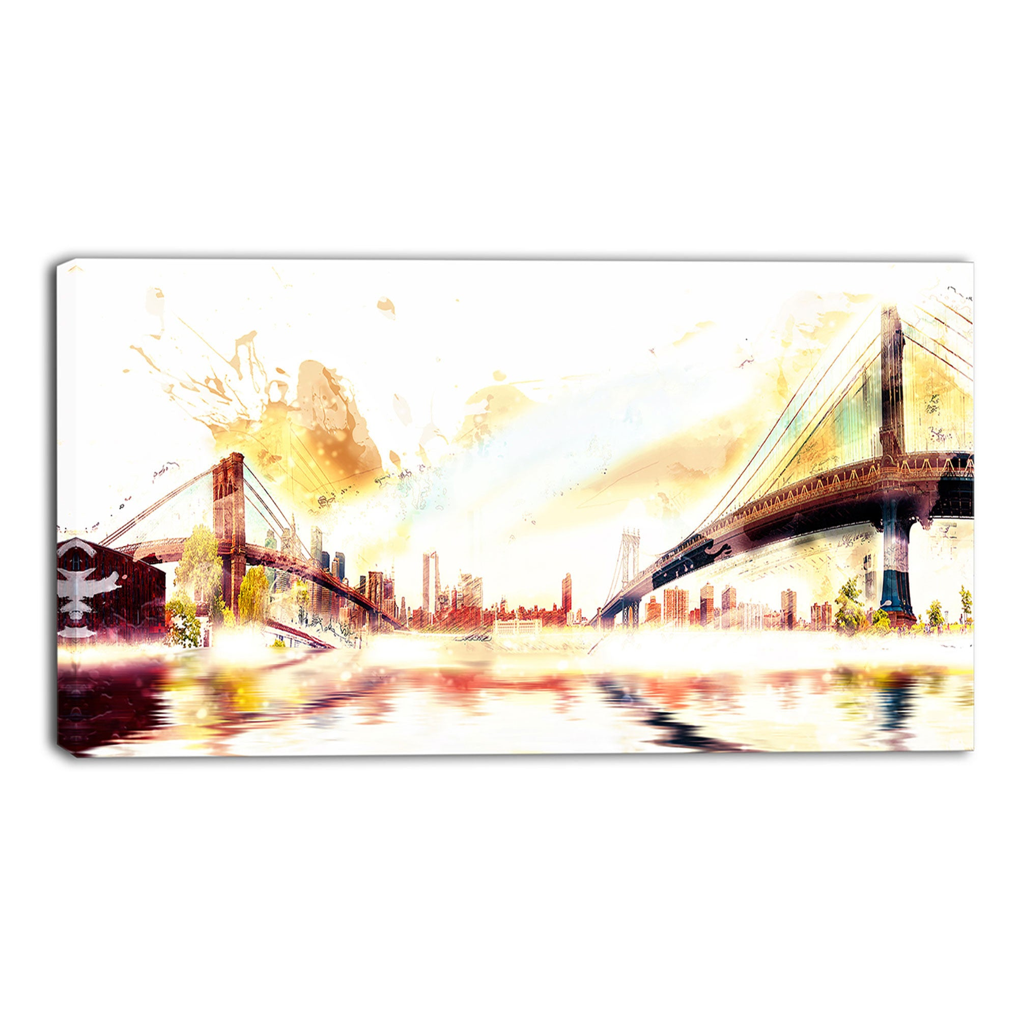 Gleaming Cityscape Bridges Canvas Wall Art Print