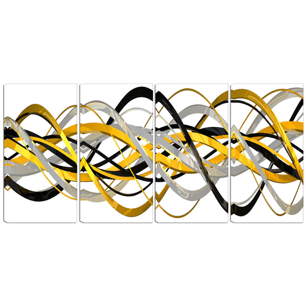 Gold and Black Abstract Loops Canvas Wall Art Print