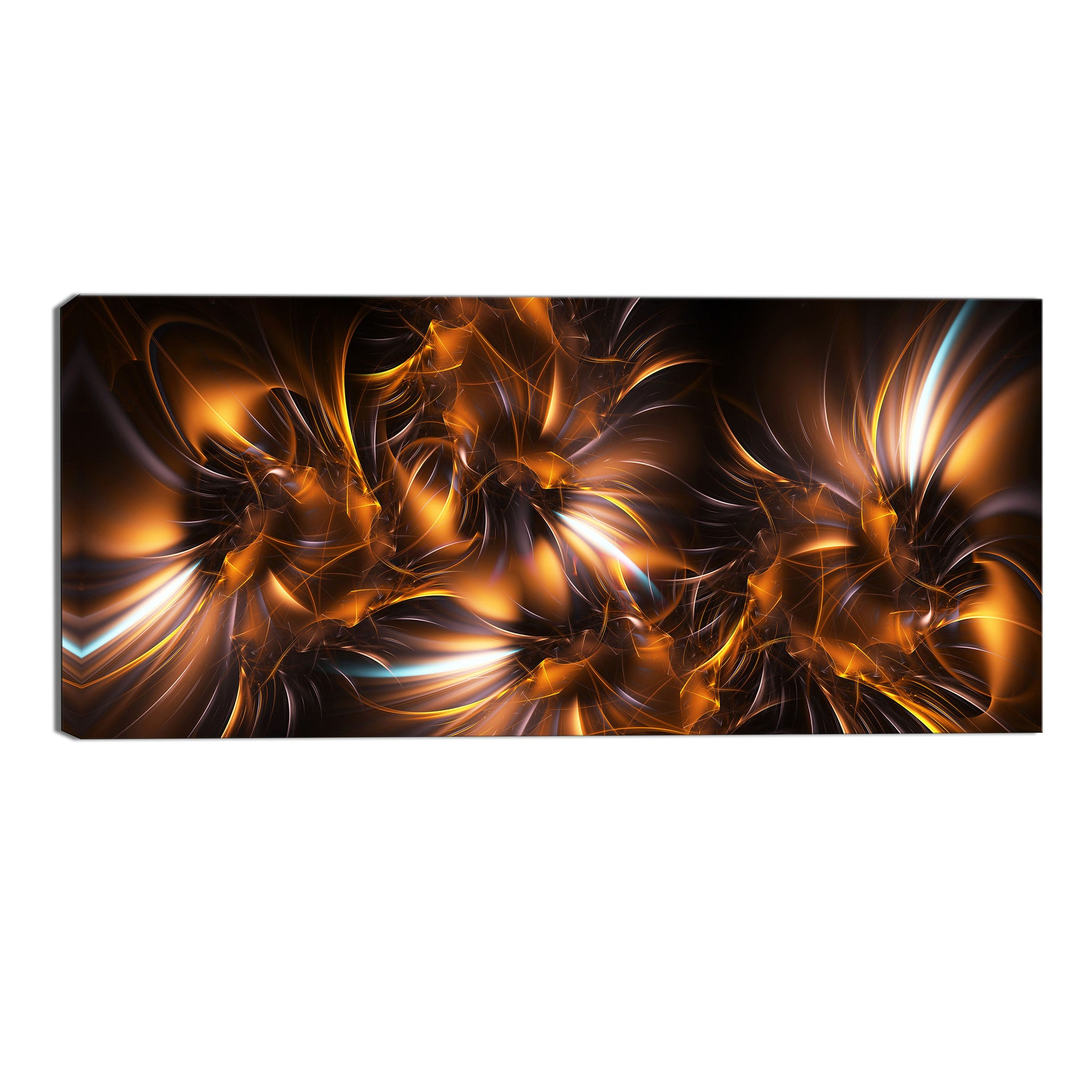 Gold and Silver Fireworks Canvas Abstract Wall Art Print