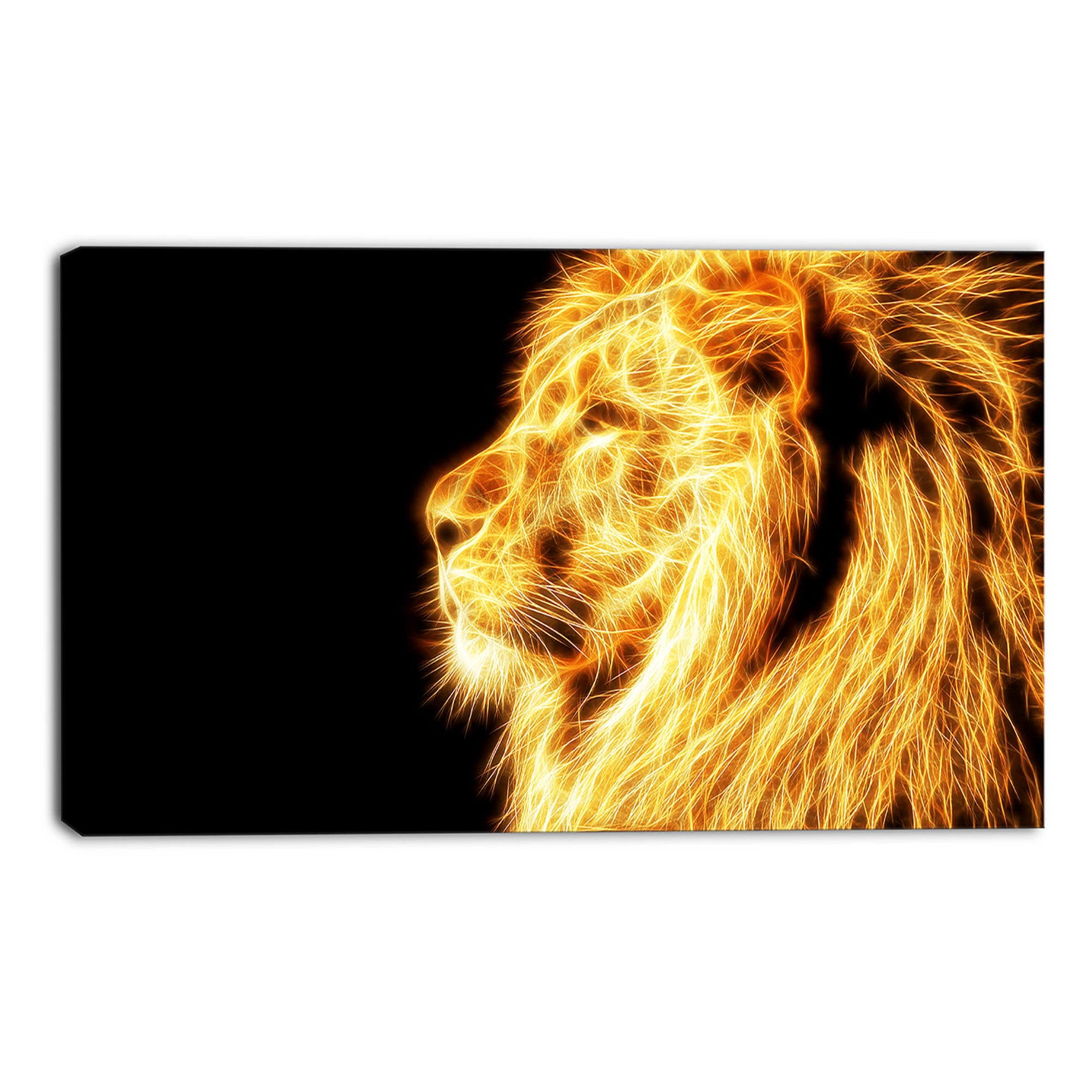 Gold Fearless Lion Canvas Wall Art Print – Accent Canvas