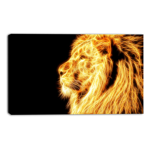 Gold Fearless Lion Canvas Wall Art Print
