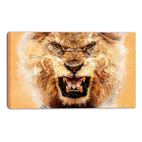 Gold Lion's Roar Canvas Wall Art Print