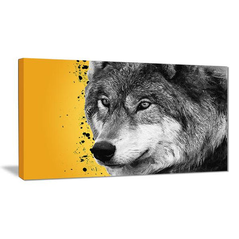 Golden Wolf Animal Canvas Wall Art Print