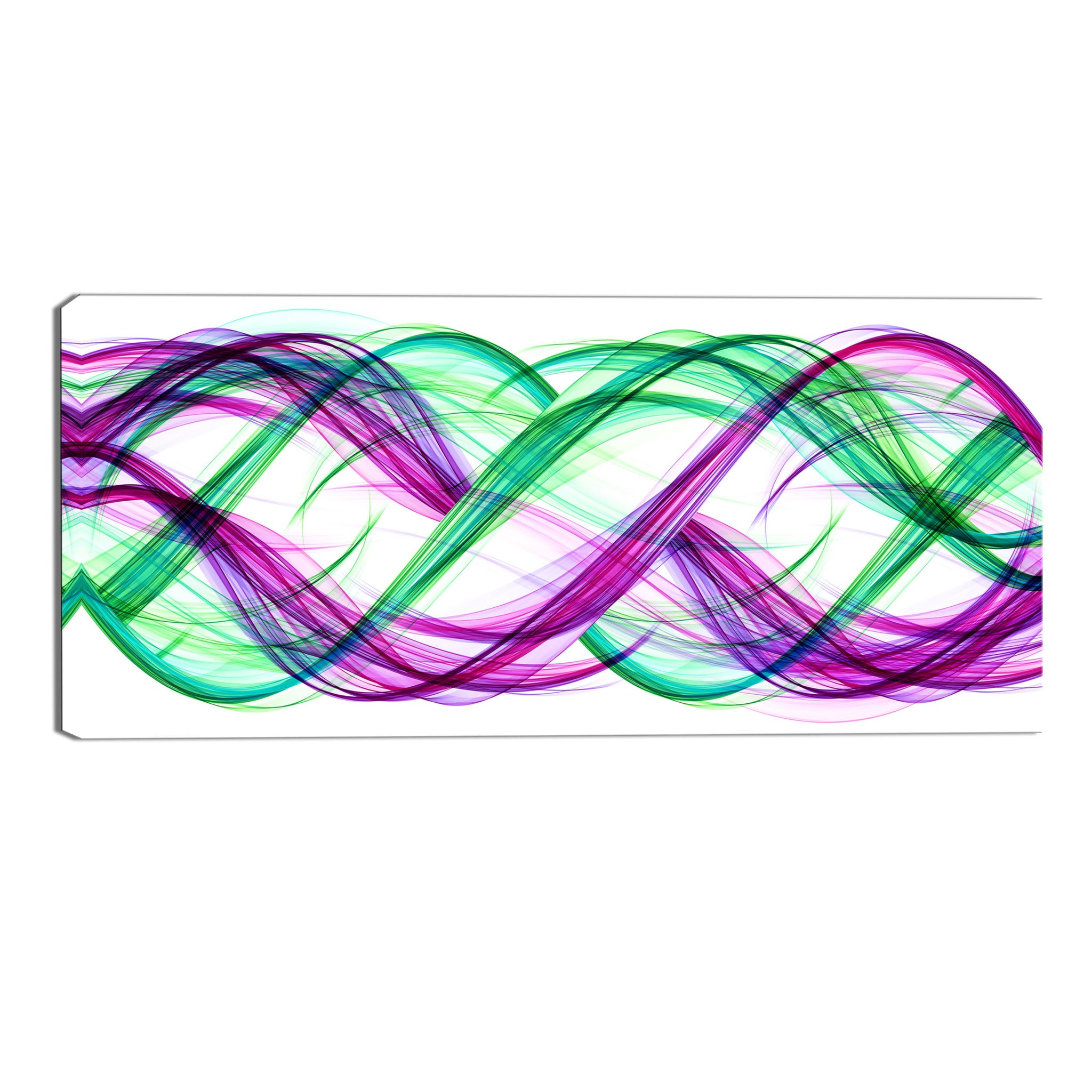 Green and Purple Abstract Loops Canvas Wall Art Print