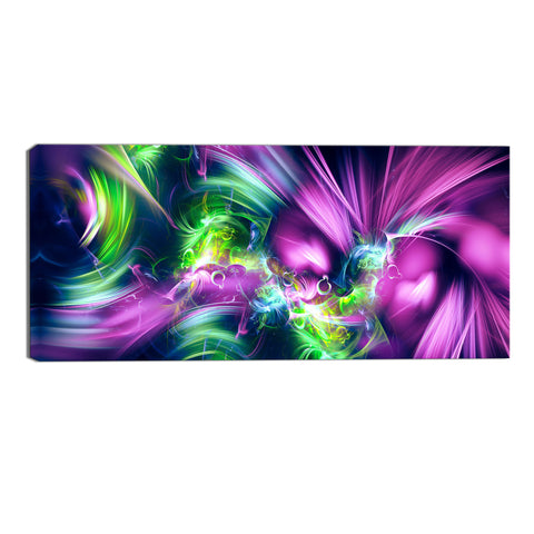 Green and Purple Sensation Abstract Canvas Wall Art Print