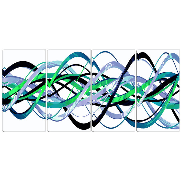 Green and Silver Abstract Loops Canvas Wall Art Print