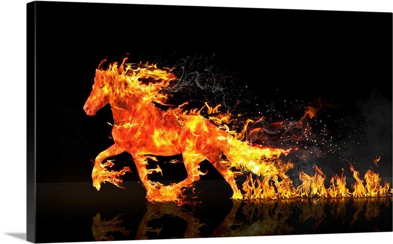 Horse Fire Canvas Wall Art Print