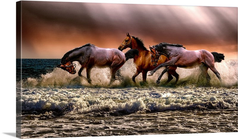 Horses at Sea Canvas Wall Art Print