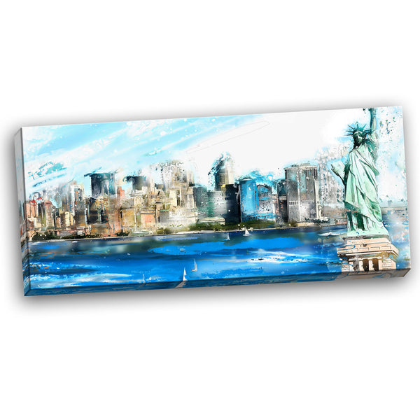Landscape of Ellis Island Canvas Wall Art Print