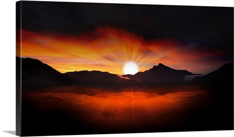 Lighted Evening Sky Canvas Wall Art Print