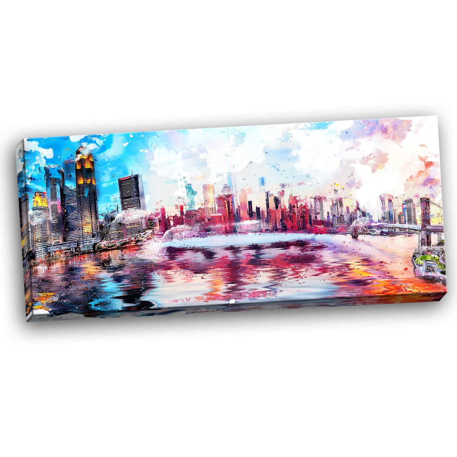 Lively NYC Cityscape Canvas Wall Art Print