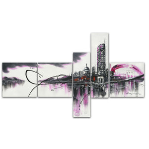 Modern Purple Cityscape Canvas Wall Art Print