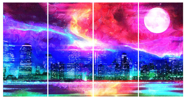 Multicolored Cityscape Canvas Wall Art Print