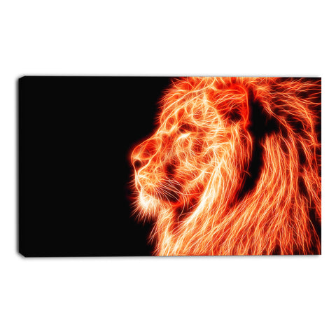 Orange Fearless Lion Canvas Wall Art Print