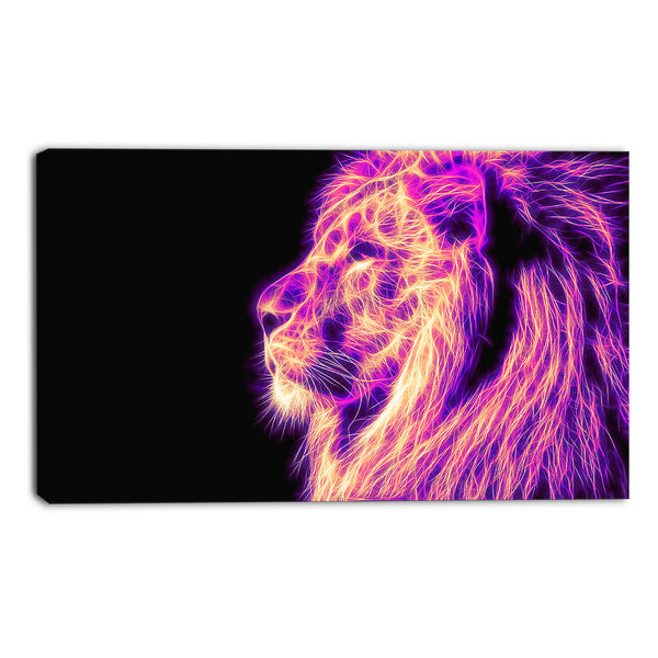 Purple Fearless Lion Canvas Wall Art Print