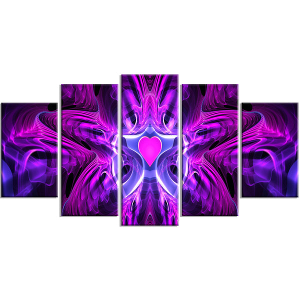 Purple Heart Abstract Canvas Wall Art Print