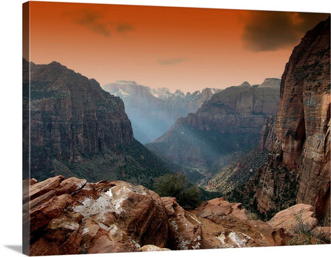 Scenic Mountain Sunset Canvas Wall Art Print