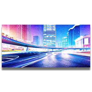 Shining Lights Cityscape Canvas Wall Art Print