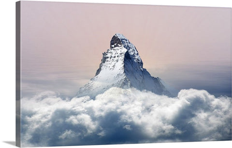 Snowy Mountain Skies Canvas Wall Art Print