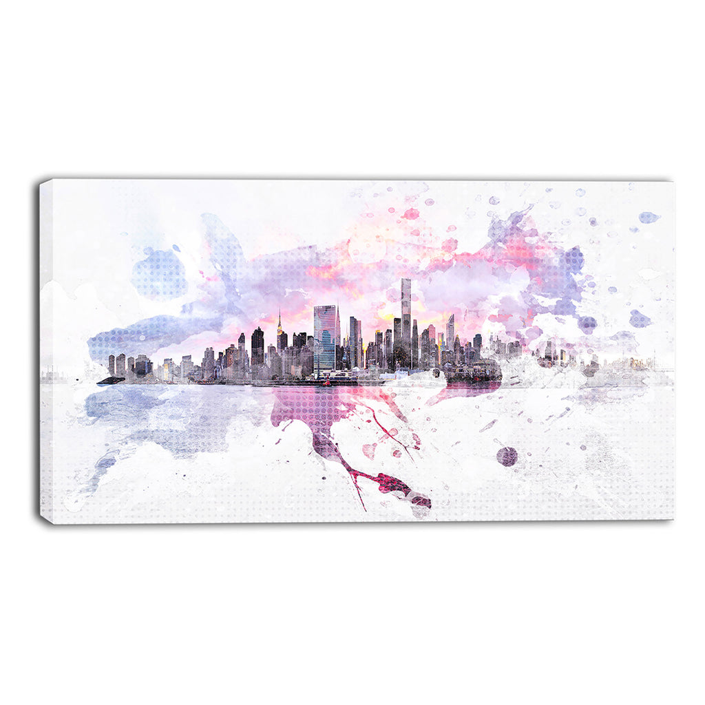 Splashy Cityscape Canvas Wall Art Print