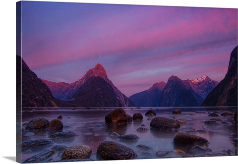 Sunset Rocks Landscape Canvas Wall Art Print