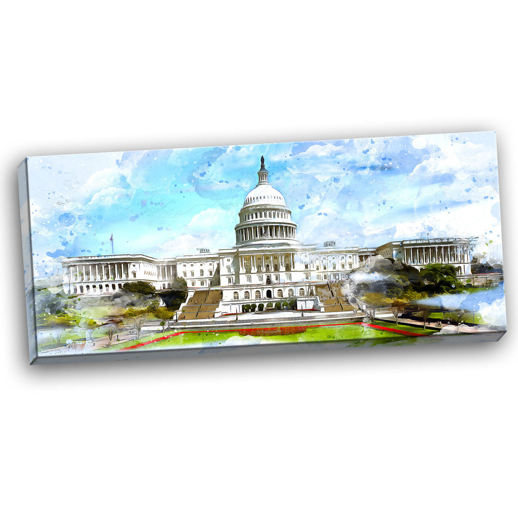 US Capitol Cityscape Canvas Wall Art Print