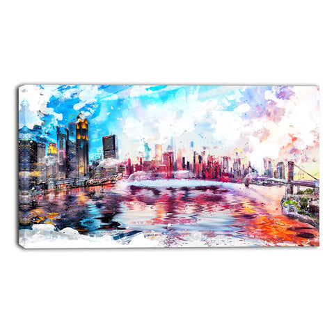 Vibrant New York Cityscape Canvas Wall Art Print