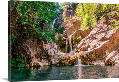 Waterfall Nature Pond Canvas Wall Art Print
