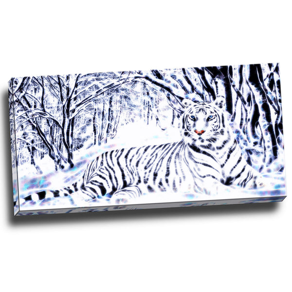 White Tiger in Forest Canvas Wall Art Print