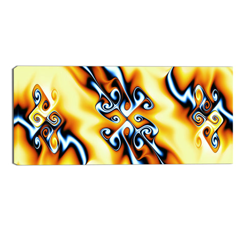 Yellow Abstract Twists Canvas Wall Art Print