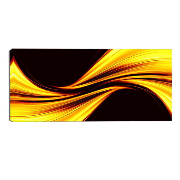 Yellow and Black Rush Abstract Canvas Wall Art Print