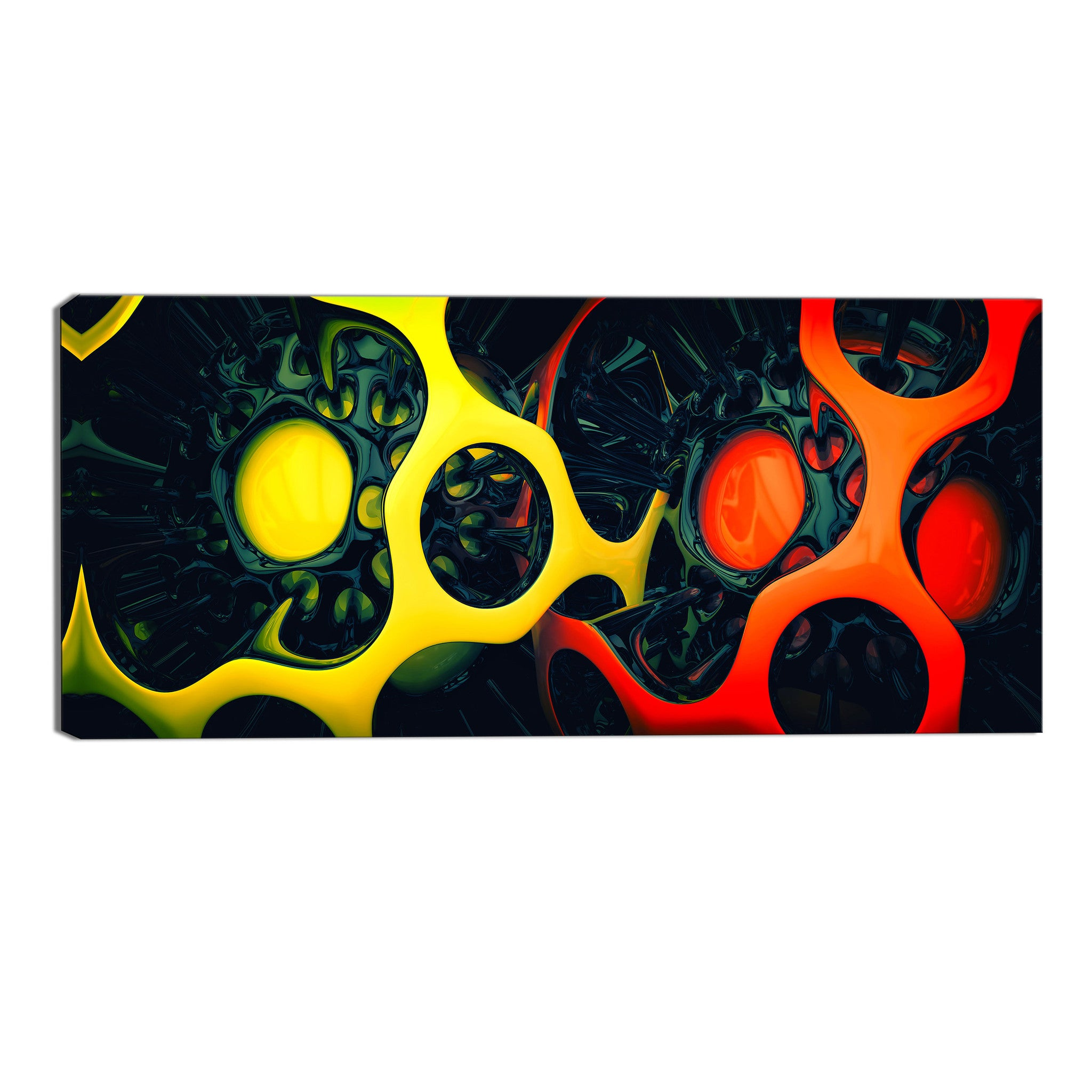 Yellow and Orange Shapes Abstract Canvas Wall Art Print