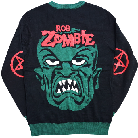 Zombie Face Green Sweater