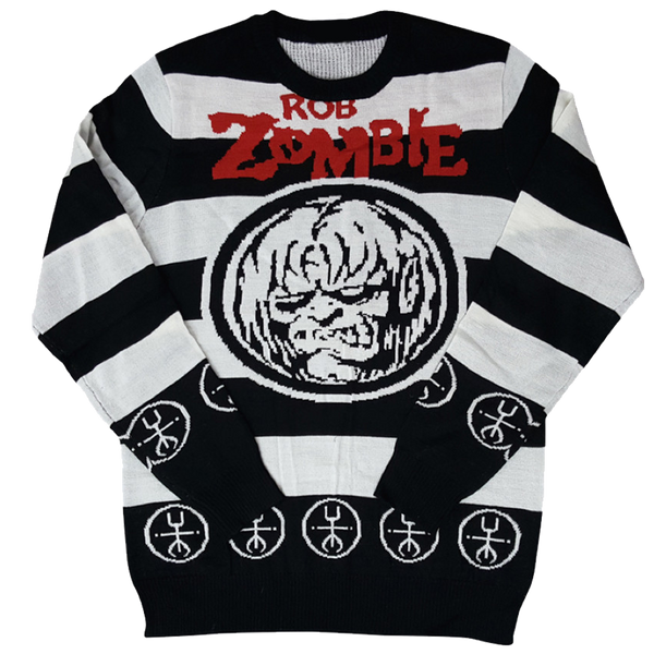 Zombie Face Striped Sweater