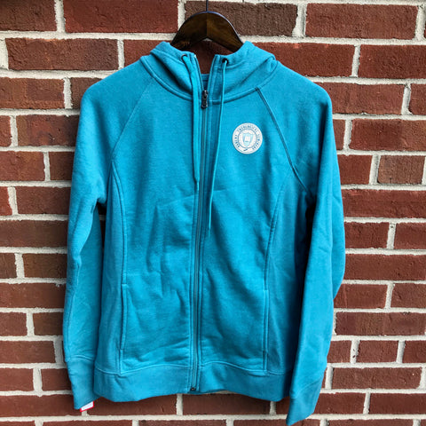 Women's Teal Fleece Hooded Full Zip Thumb Hole Jacket