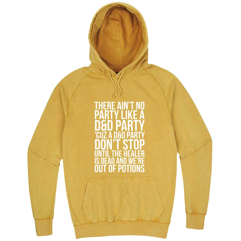 """Ain't No Party like a D&D Party"" hoodie, 3XL, Vintage Mustard"