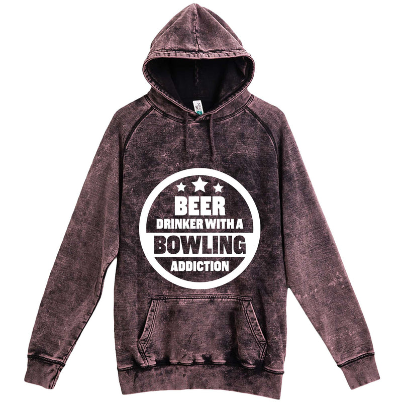 """Beer Drinker with a Bowling Addiction"" hoodie, 3XL, Vintage Cloud Black"